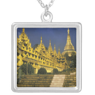 Asia, Myanmar, Yangon. Shwedagon Pagoda at Silver Plated Necklace