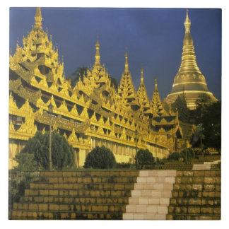 Asia, Myanmar, Yangon. Shwedagon Pagoda at Tile