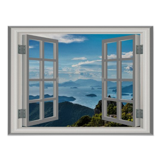 Asia Ocean Misty Blue Mountains Faux Window View