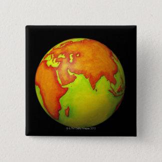 Asia on a Globe 15 Cm Square Badge