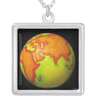 Asia on a Globe Silver Plated Necklace