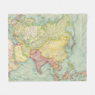 Asia political atlas map fleece blanket