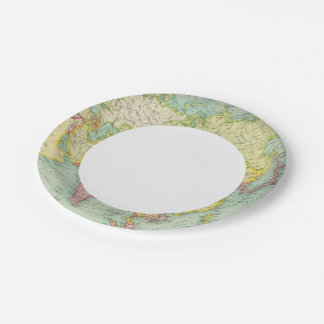 Asia political atlas map paper plate