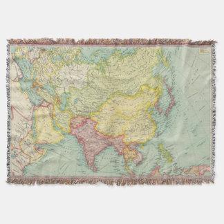 Asia political atlas map throw blanket