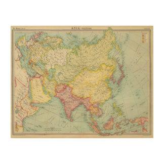 Asia political atlas map wood print