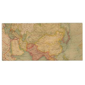 Asia political atlas map wood USB flash drive