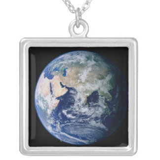 Asia Seen from Space Silver Plated Necklace