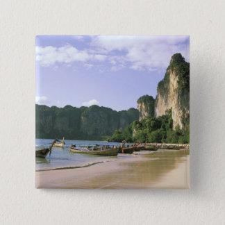 Asia, Thailand, Krabi. West Railay Beach, long 15 Cm Square Badge