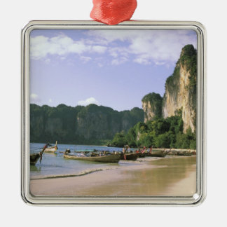 Asia, Thailand, Krabi. West Railay Beach, long Silver-Colored Square Decoration