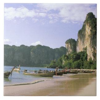 Asia, Thailand, Krabi. West Railay Beach, long Tile