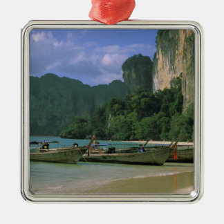 Asia, Thailand, Krabi. West Railay Beach, Silver-Colored Square Decoration