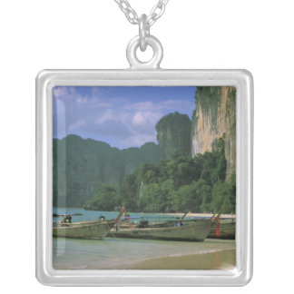 Asia, Thailand, Krabi. West Railay Beach, Silver Plated Necklace