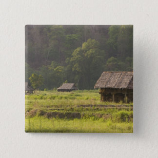 Asia, Thailand, Mae Hong Son, Rice huts in the 15 Cm Square Badge