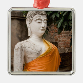 Asia, Thailand, Siam, Buddha at Ayutthaya Silver-Colored Square Decoration