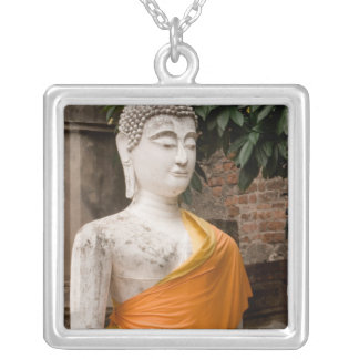 Asia, Thailand, Siam, Buddha at Ayutthaya Silver Plated Necklace