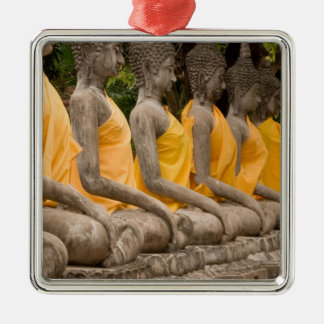 Asia, Thailand, Siam, Buddhas at Ayutthaya Silver-Colored Square Decoration