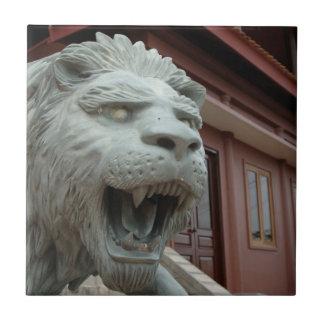 Asia, Vietnam. Lion sculpture at Chau Doc Tile