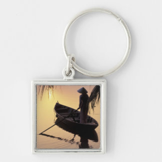 Asia, Vietnam, Mekong Delta, Can Tho. Evening Key Ring