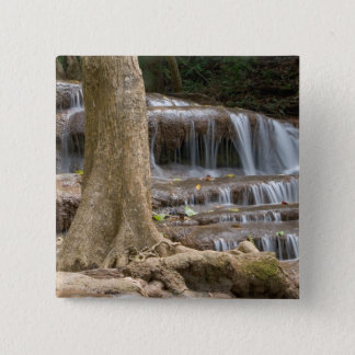 Asia, Waterfall on the border between Thailand 15 Cm Square Badge
