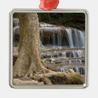 Asia, Waterfall on the border between Thailand Silver-Colored Square Decoration