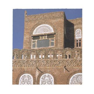 Asia, Yemen, Sana'a. Yemeni architecture detail. Notepad