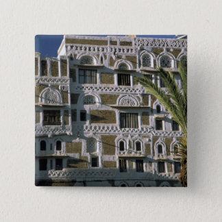 Asia, Yemen, Sana'a. Yemeni house. 15 Cm Square Badge