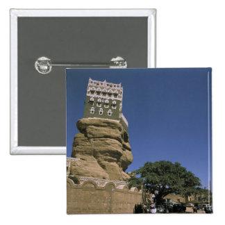 Asia, Yemen, Wadi Dhar. Rock Palace, or Dar Al 15 Cm Square Badge