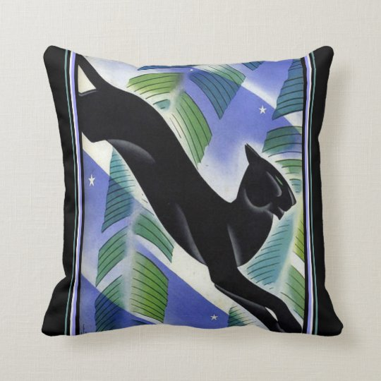 """Asian Art Deco """"Black Panther"""" Throw Pillow"""