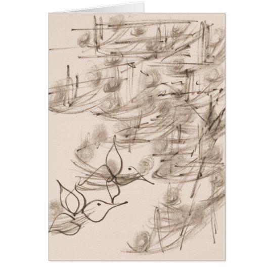 Asian Art & Flowers Stoned Card