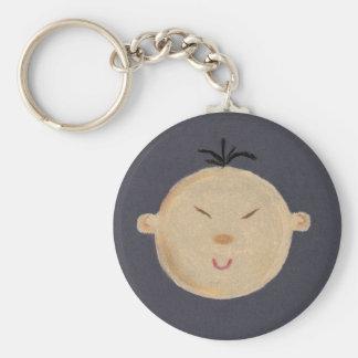 Asian Baby Basic Round Button Key Ring