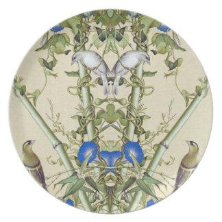 Asian Bamboo Blue Flowers Birds Melamine Plate