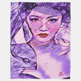 Asian Beauty Abstract Watercolor Portrait Art Fleece Blanket