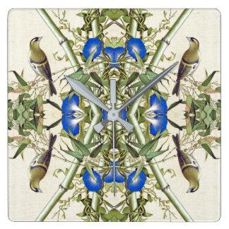Asian Birds Bamboo Flowers Wildlife Wall Clock