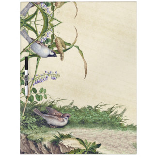 Asian Birds Wildflower Flowers Dry Erase Board