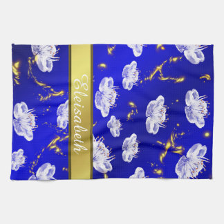 asian blossom towel blue and gold , white