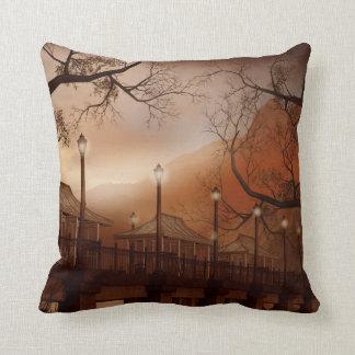 Asian Bridge Throw Pillow Cushion