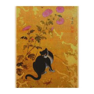 ASIAN CAT WOOD WALL ART