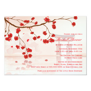 45f302dfe3c0 Asian cherry blossom bridal shower invitation