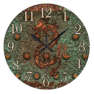 Asian Copper Dragon Rusty Metal Fantasy Art Clock