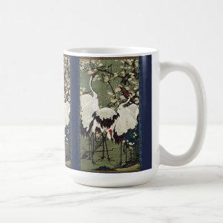 Asian Crane Birds Wildlife Flower Blossoms Mug