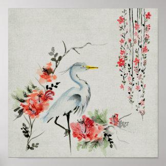Asian`Crane Floral Poster