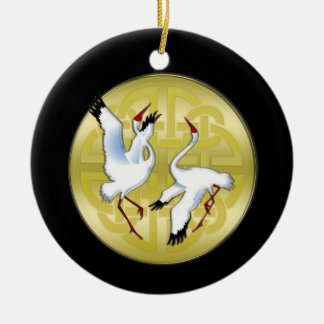 Asian Dancing Cranes on Golden Circle Christmas Ornament