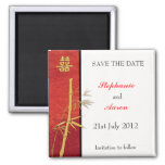 Asian Double Happiness Bamboo Red Save The Date Square Magnet