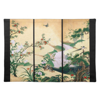 Asian Dove Bird Wisteria Flower Waterfall Placemat