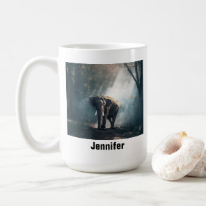 Asian Elephant in a Sunlit Forest Clearing Coffee Mug