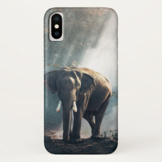 Asian Elephant in a Sunlit Forest Clearing iPhone X Case