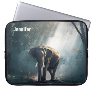 Asian Elephant in a Sunlit Forest Clearing Laptop Sleeve