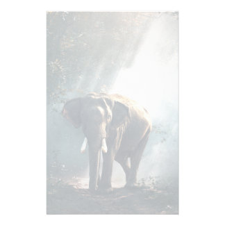Asian Elephant in a Sunlit Forest Clearing Stationery