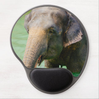 Asian Elephant In Green Water, Animal Photo Gel Mouse Pad