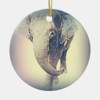 Asian Elephant in vintage colors Christmas Ornament